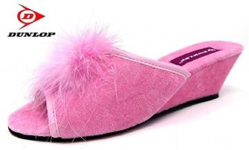 Dunlop Jewelled  Boa wedge heel mule slippers PINK